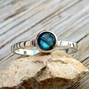 Sterling Silver Natural Labradorite Stacking Ring